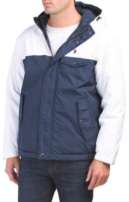 Hooded Color Block Fleece Lined Jacket