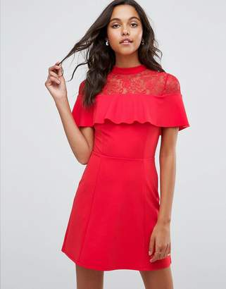 Asos Mini Skater Dress with Lace Inserts and Ribbon Tie