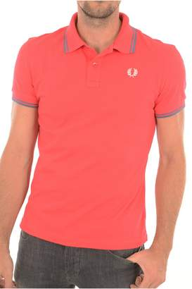 Fred Perry Green Label Men's Polo Shirt With Tipped Pink With Dull Blue/Dull Blue Tipped