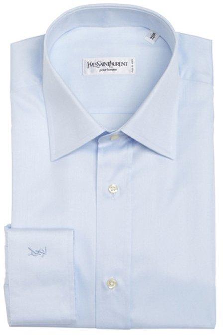 Yves Saint Laurent sky blue cotton point collar dress shirt