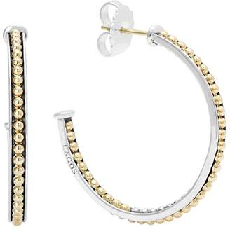 Lagos 18K Gold and Sterling Silver Enso Medium Caviar Lined Hoop Earrings