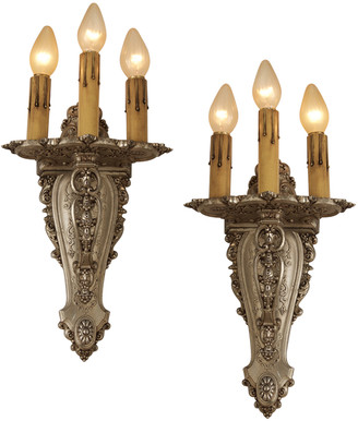 Rejuvenation Monumental Silver Plated Candle Sconces