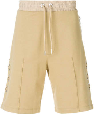 Les Hommes crossed leather laces shorts