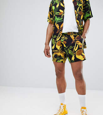 Reclaimed Vintage Inspired Shorts With Banana Leaf Print In Black