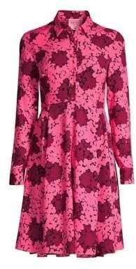 Kate Spade Women's Bubble Dot Smocked-Back A-Line Shirt Dress - Rhubarb Jam - Size 10