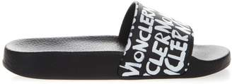 Moncler Slide Sandals In Blue And White Pvc