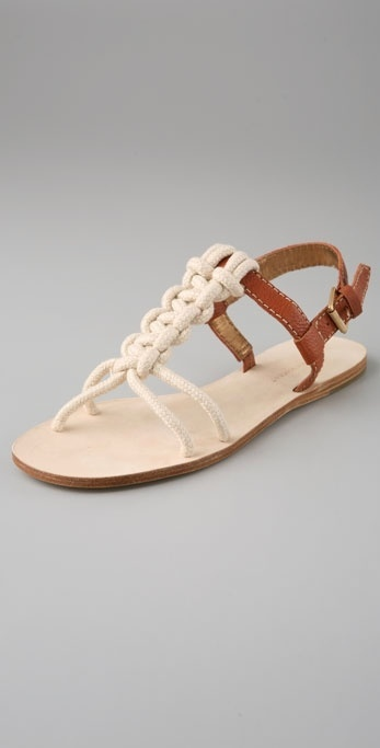 Twelfth St. By Cynthia Vincent Delphi Knotted Rope Flat Sandals