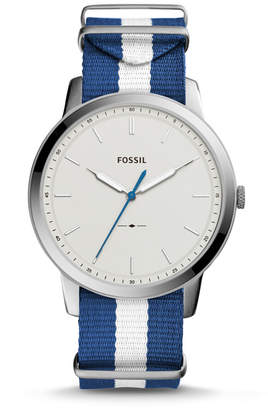 Fossil The Minimalist Three Hand Navy And White Polyester Watch