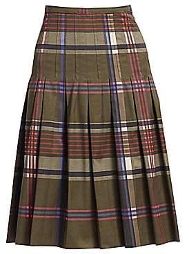 Akris Punto Women's Plaid Pleated Bell Skirt