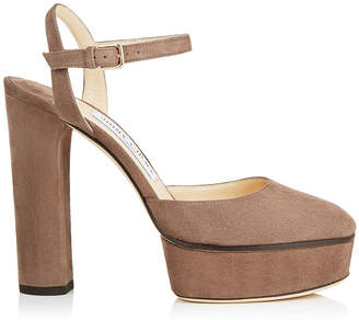 Jimmy Choo MAPLE 125 Stone Suede Platform Pumps