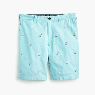"J.Crew 9"" Cotton Short With Embroidered Flamingos"