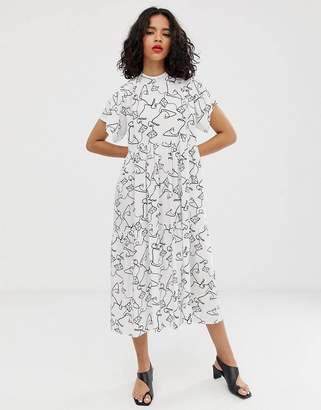 Asos Design DESIGN open back midi smock dress in squiggle print