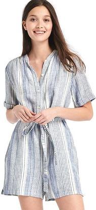 Linen stripe tie-belt romper $59.95 thestylecure.com