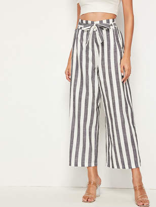 Shein Striped Wide Leg Belted Pants