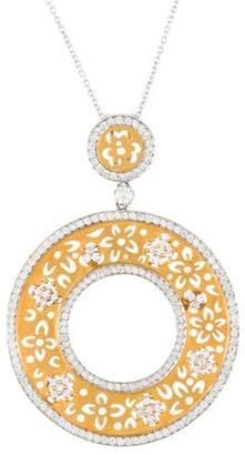18K Jenny Perl Floral Diamond Circle Pendant Necklace