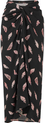 Vix Seychelles Lee Printed Voile Wrap Skirt - Black