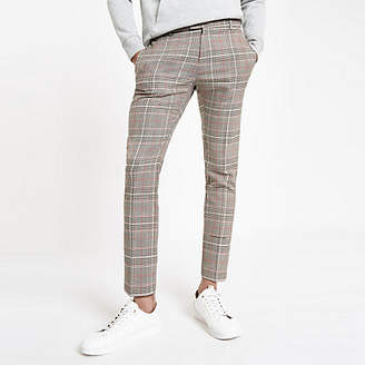 River Island Brown check super skinny smart pants