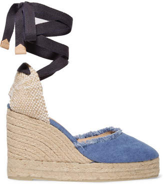 Castaner Canela 80 Frayed Denim Wedge Espadrilles - Light denim