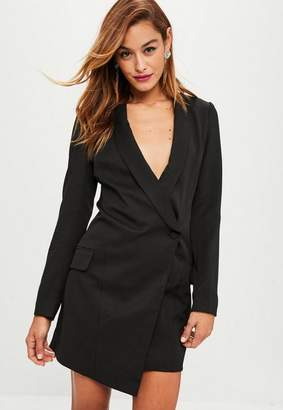 Missguided Black Asymmetric Blazer Dress