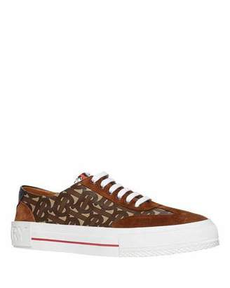 Burberry Nelson Suede & TB Canvas Low-Top Sneakers