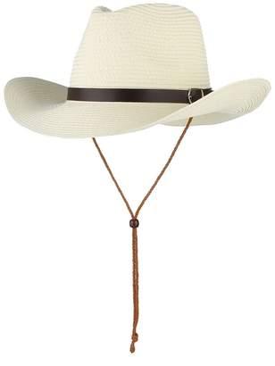 Stetson Gemvie Cowboy Hat Western Style Fedora Straw Hat Summer Sun Hat with Chin Strap