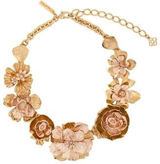 Oscar de la Renta large floral appliqués necklace