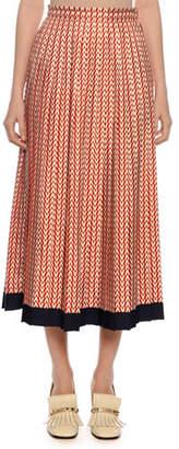 Valentino High-Waist Optical Logo-Print Pleated A-Line Midi Skirt