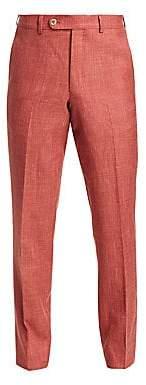 Saks Fifth Avenue Men's COLLECTION Wool, Silk& Linen Flat-Front Dress Pants