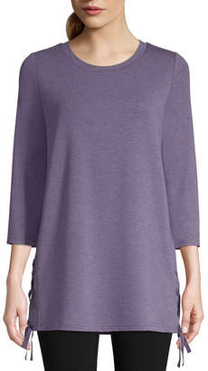 ST. JOHN'S BAY SJB ACTIVE Active 3/4 Sleeve Lace Hem Top