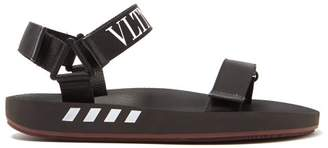 Valentino Vltn Logo Trim Rubber Sandals - Mens - Black Multi