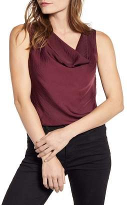 1 STATE 1.State Cowl Neck Rumple Satin Sleeveless Blouse