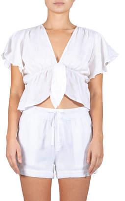 Elan International Tie front ruffle cap sleeve top