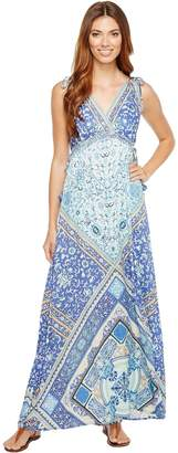 Hale Bob Women's Sun Kissed Rayon Stretch Satin Woven Maxi Dress