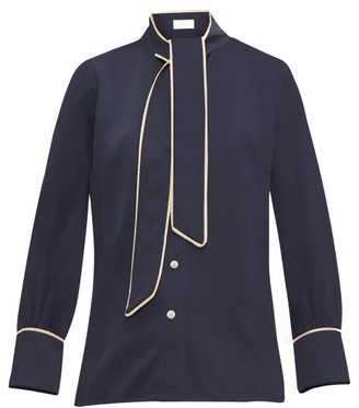 Peter Pilotto Pussy Bow Satin Blouse - Womens - Navy