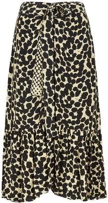 Proenza Schouler Pale Yellow Printed Midi Skirt