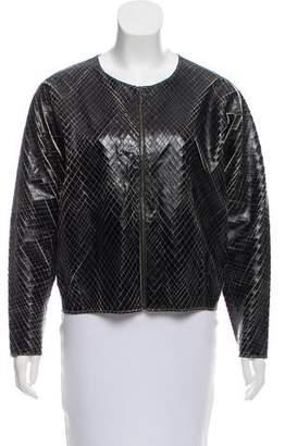 Marco De Vincenzo Vegan Leather Zip-Up Jacket