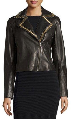 BagatelleBagatelle Beaded-Lapel Cropped Leather Moto Jacket, Black