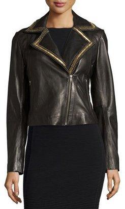 Bagatelle Beaded-Lapel Cropped Leather Moto Jacket, Black $495 thestylecure.com