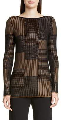 St. John Textured Patchwork Sweater