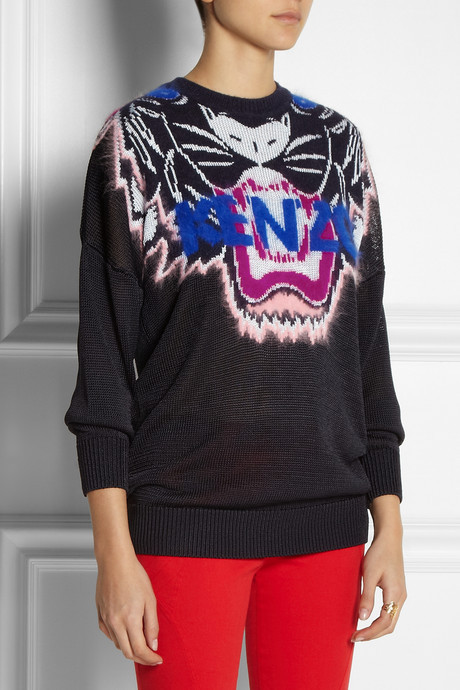 Tiger-intarsia knitted sweater