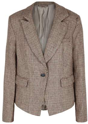 Free People Chess Checked Linen Blazer