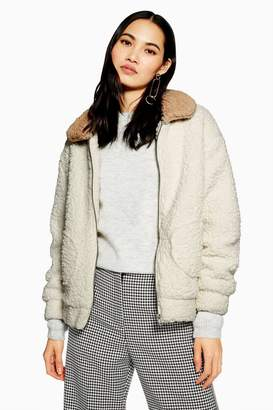 NATIVE YOUTH Two Tone Teddy Coat