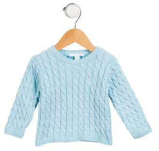 Marie Chantal Girls' Cable Knit Crew Neck Sweater
