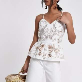 River Island Womens White brown embroidered peplum hem cami top