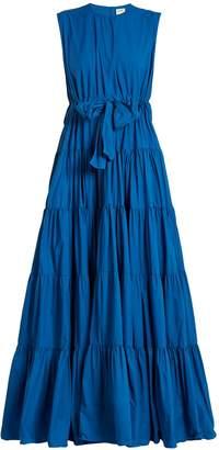 Tiered tie-waist paper-taffeta dress
