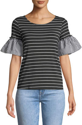 Couture Casual Mixed-Pattern Flutter Sleeve Tee