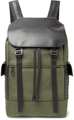 Bottega Veneta Sassolungo Nylon-Canvas And Intrecciato Leather Backpack
