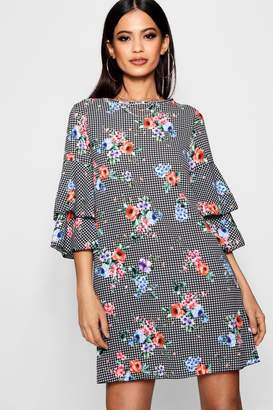 boohoo Floral Check Volume Sleeve Shift Dress