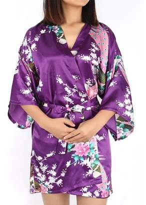 Unique Bargains Satin Robe Dressing Gown Rayon Wedding Bride Bridesmaid (Dark Purple Floral, L)
