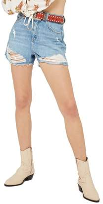 Topshop Ripped Denim Mom Shorts